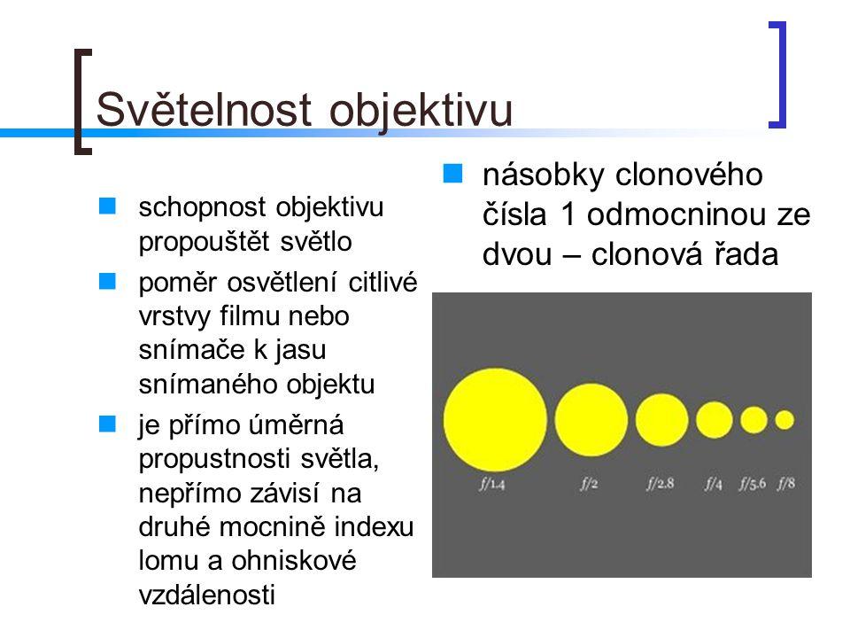 Světelnost objektivu  schopnost objektivu propouštět světlo  poměr osvětlení citlivé vrstvy filmu nebo snímače k jasu snímaného objektu  je přímo úměrná propustnosti světla, nepřímo závisí na druhé mocnině indexu lomu a ohniskové vzdálenosti  násobky clonového čísla 1 odmocninou ze dvou – clonová řada