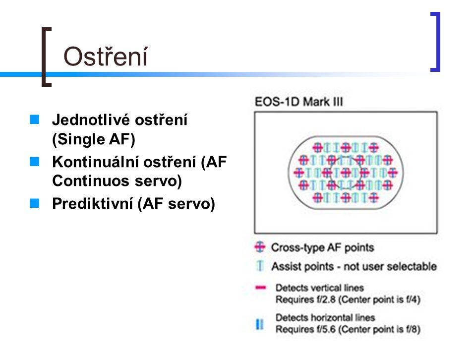 Ostření  Jednotlivé ostření (Single AF)  Kontinuální ostření (AF Continuos servo)  Prediktivní (AF servo)