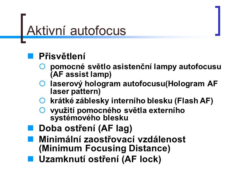 Aktivní autofocus  Přisvětlení  pomocné světlo asistenční lampy autofocusu (AF assist lamp)  laserový hologram autofocusu(Hologram AF laser pattern)  krátké záblesky interního blesku (Flash AF)  využití pomocného světla externího systémového blesku  Doba ostření (AF lag)  Minimální zaostřovací vzdálenost (Minimum Focusing Distance)  Uzamknutí ostření (AF lock)