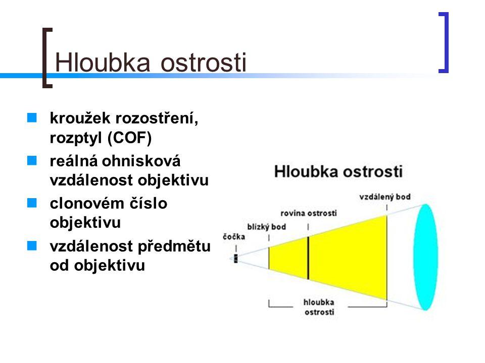 Hloubka ostrosti  kroužek rozostření, rozptyl (COF)  reálná ohnisková vzdálenost objektivu  clonovém číslo objektivu  vzdálenost předmětu od objek