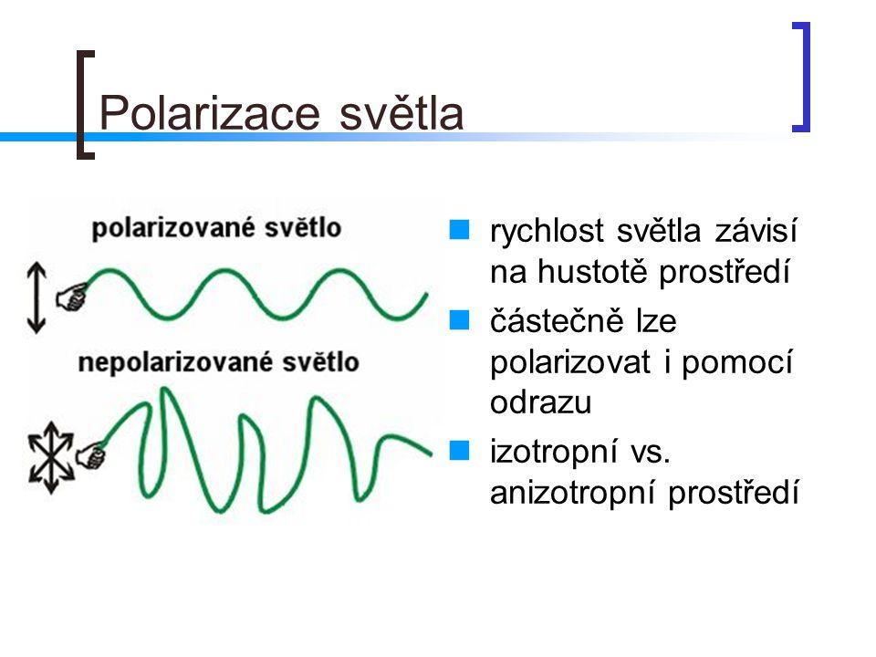 Polarizace světla  rychlost světla závisí na hustotě prostředí  částečně lze polarizovat i pomocí odrazu  izotropní vs.