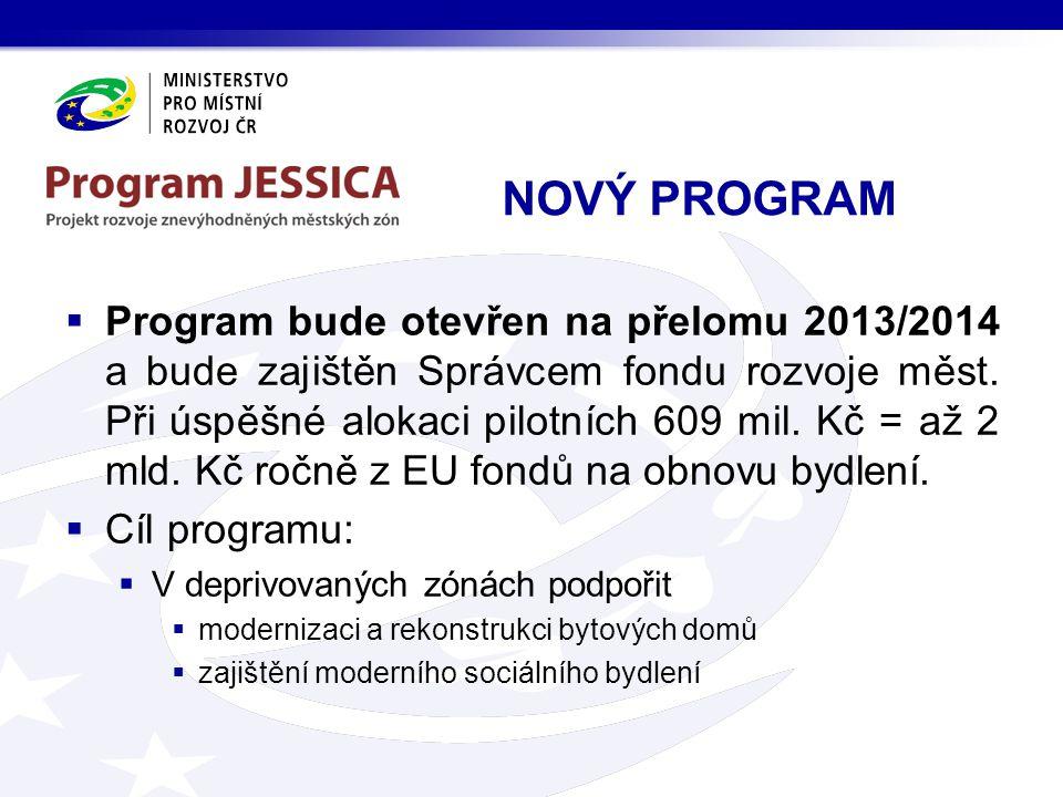 NOVÝ PROGRAM  Program bude otevřen na přelomu 2013/2014 a bude zajištěn Správcem fondu rozvoje měst.