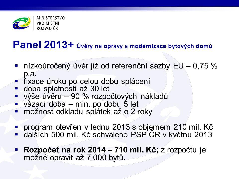 Panel 2013+ Úvěry na opravy a modernizace bytových domů  nízkoúročený úvěr již od referenční sazby EU – 0,75 % p.a.