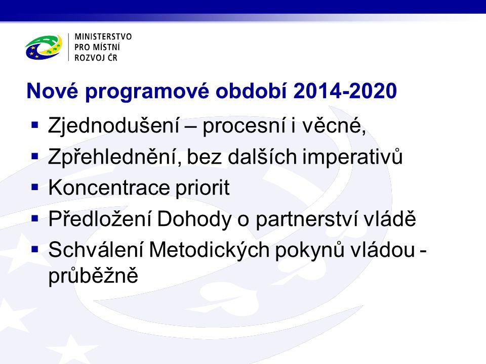 Nové programové období 2014-2020  Zjednodušení – procesní i věcné,  Zpřehlednění, bez dalších imperativů  Koncentrace priorit  Předložení Dohody o partnerství vládě  Schválení Metodických pokynů vládou - průběžně
