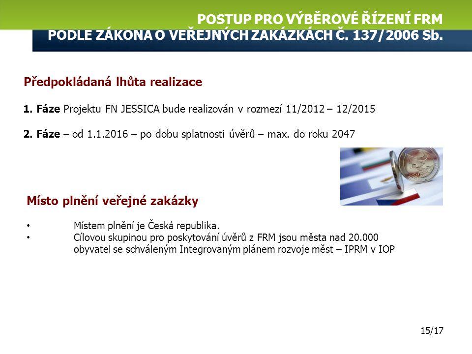 POSTUP PRO VÝBĚROVÉ ŘÍZENÍ FRM PODLE ZÁKONA O VEŘEJNÝCH ZAKÁZKÁCH Č. 137/2006 Sb. 14/17 Zdroje financování veřejné zakázky  Spolufinancování z prostř