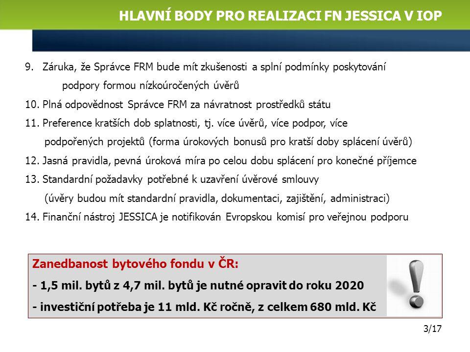 EVROPSKÉ FINANČNÍ PROSTŘEDKY PRO OPAKOVANÉ POUŽITÍ NA PODPORU BYDLEN Í 2/17 1.Podpořit modernizaci a rekonstrukci bytových domů v ČR ze zdrojů EU 2.Za