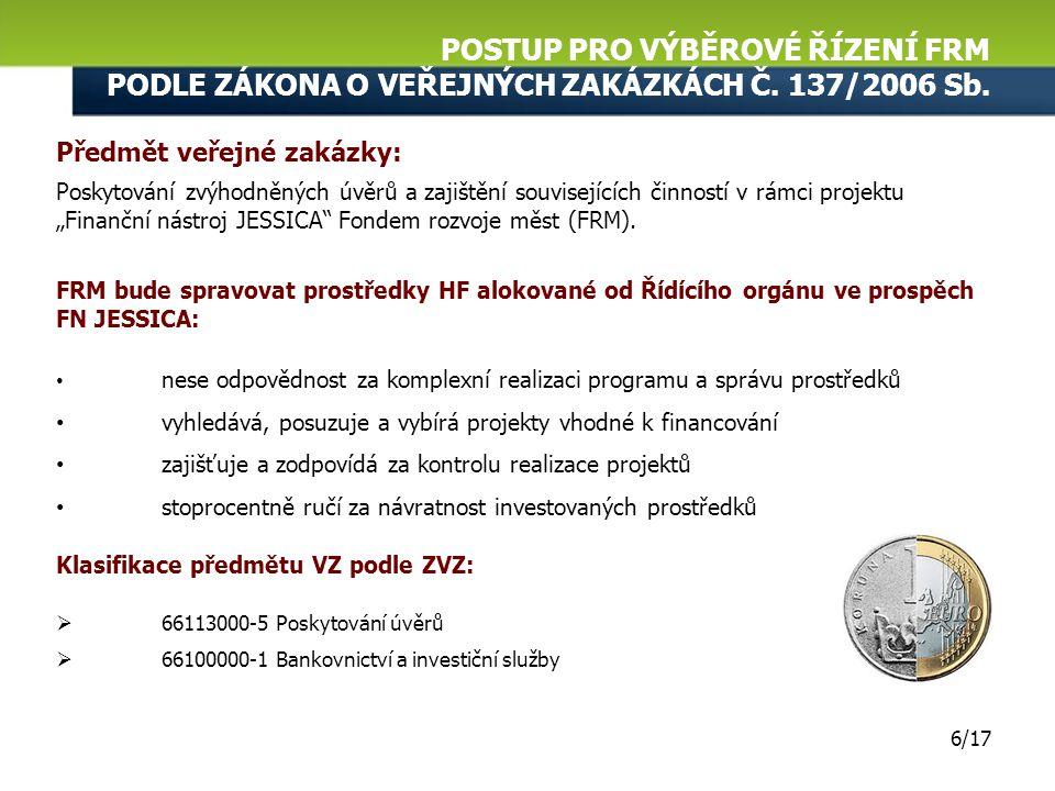 Základní parametry zadávacích podmínek veřejné zakázky Otevřené výběrové řízení podle zákona č. 137/2006 Sb. POSTUP PRO VÝBĚROVÉ ŘÍZENÍ FRM PODLE ZÁKO