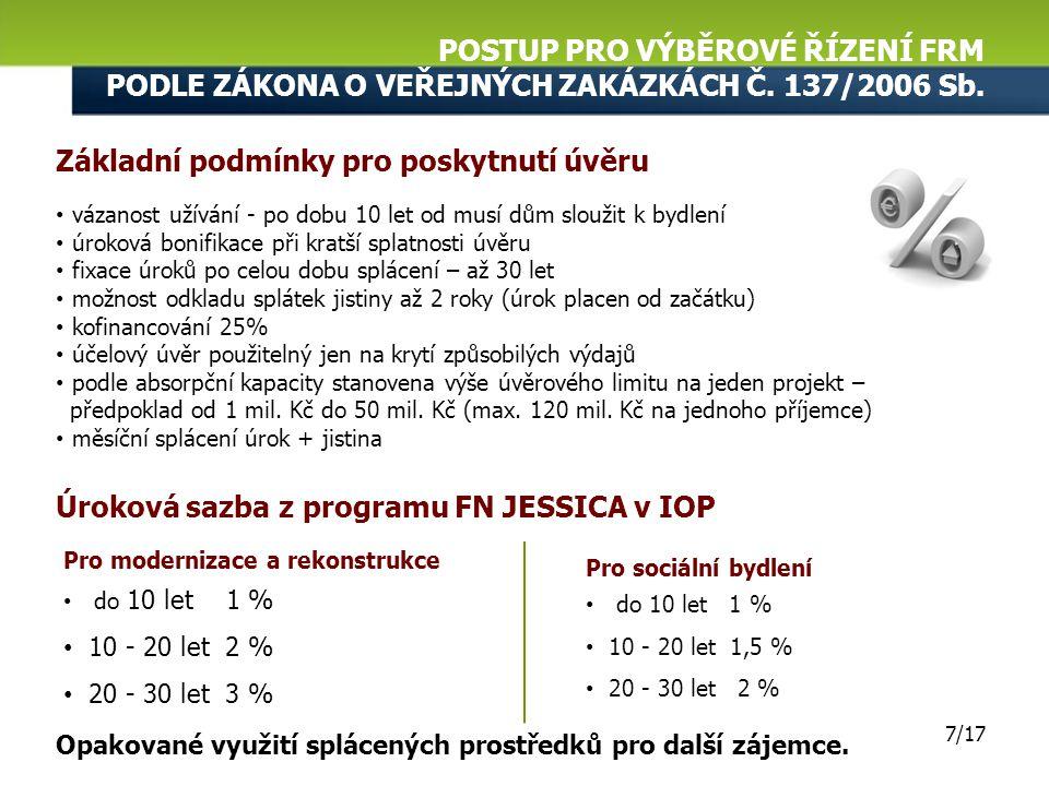 POSTUP PRO VÝBĚROVÉ ŘÍZENÍ FRM PODLE ZÁKONA O VEŘEJNÝCH ZAKÁZKÁCH Č. 137/2006 Sb. 6/17 Předmět veřejné zakázky: Poskytování zvýhodněných úvěrů a zajiš