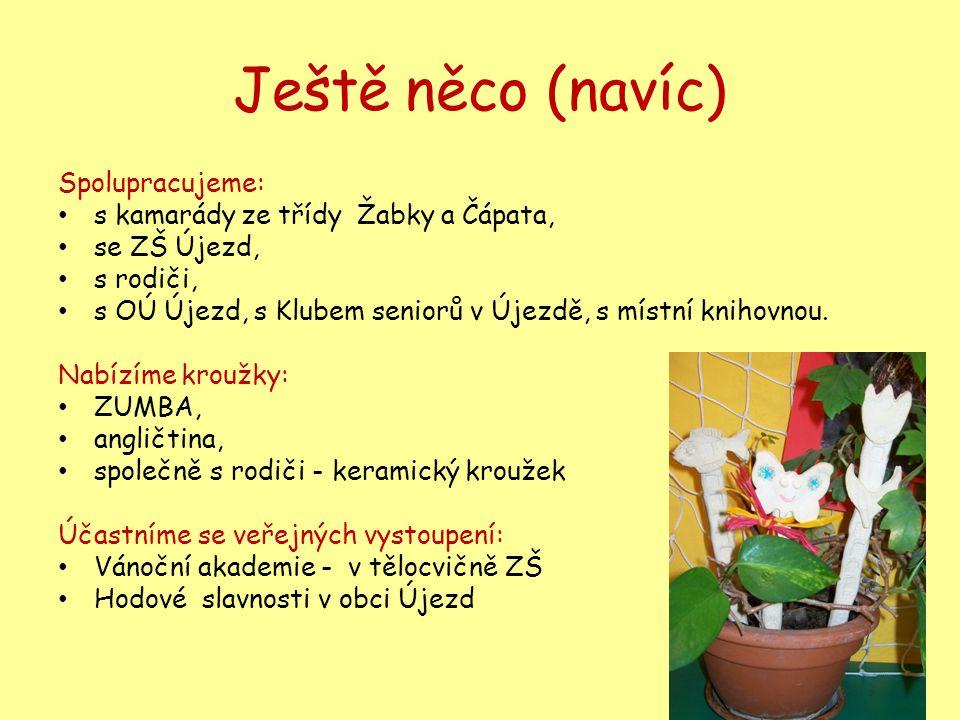 Ještě něco (navíc) Spolupracujeme: • s kamarády ze třídy Žabky a Čápata, • se ZŠ Újezd, • s rodiči, • s OÚ Újezd, s Klubem seniorů v Újezdě, s místní knihovnou.