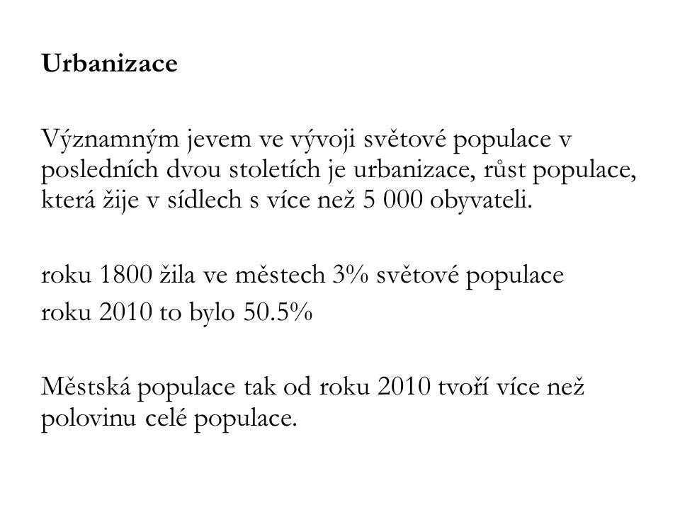 Urbanizace Významným jevem ve vývoji světové populace v posledních dvou stoletích je urbanizace, růst populace, která žije v sídlech s více než 5 000