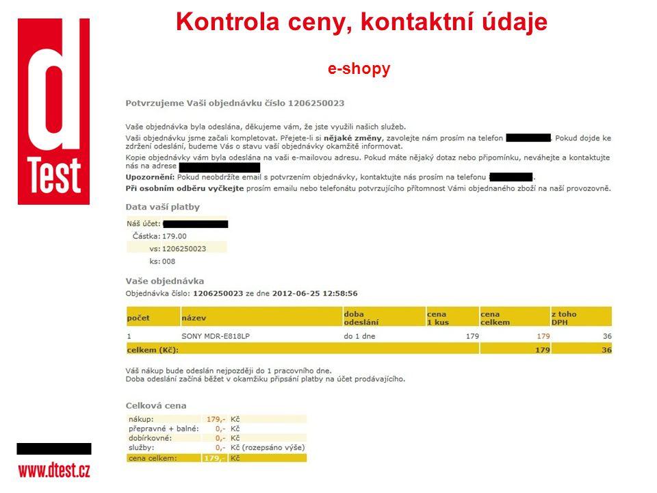 Kontrola ceny, kontaktní údaje e-shopy