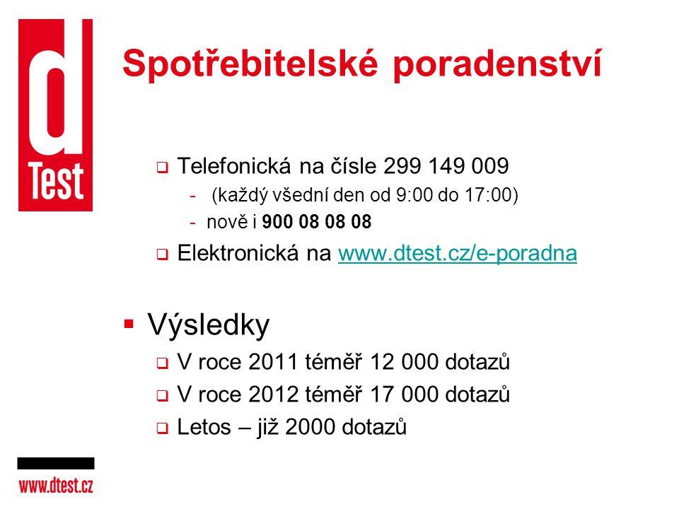Spotřebitelské poradenství  Telefonická na čísle 299 149 009 - (každý všední den od 9:00 do 17:00) -nově i 900 08 08 08  Elektronická na www.dtest.c