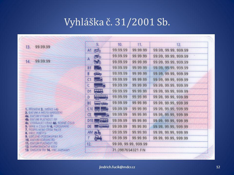 Vyhláška č. 31/2001 Sb. jindrich.fucik@mdcr.cz12
