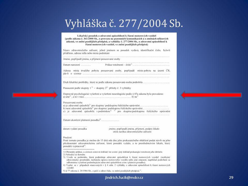 Vyhláška č. 277/2004 Sb. jindrich.fucik@mdcr.cz29