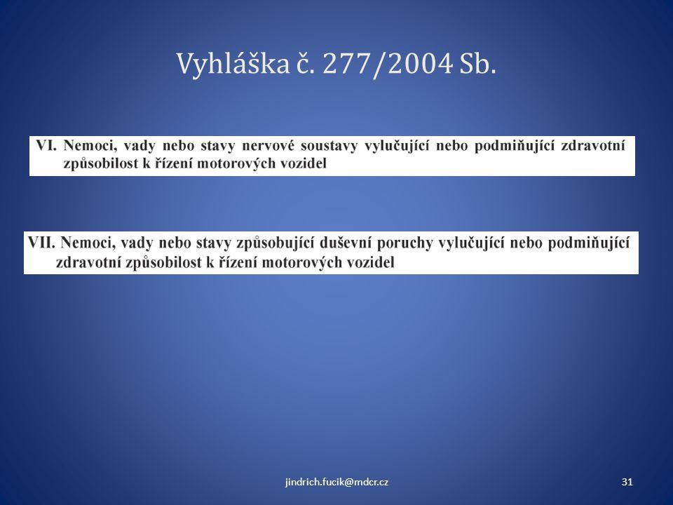 Vyhláška č. 277/2004 Sb. jindrich.fucik@mdcr.cz31