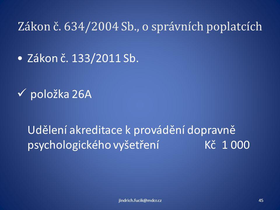 Zákon č. 634/2004 Sb., o správních poplatcích •Zákon č. 133/2011 Sb.  položka 26A Udělení akreditace k provádění dopravně psychologického vyšetření K