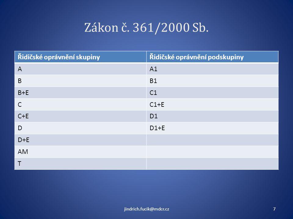 Zákon č. 361/2000 Sb. Řidičské oprávnění skupinyŘidičské oprávnění podskupiny AA1 BB1 B+EC1 CC1+E C+ED1 DD1+E D+E AM T jindrich.fucik@mdcr.cz7