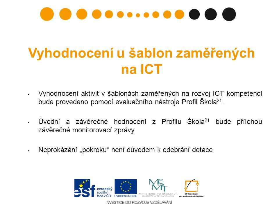 Vyhodnocení u šablon zaměřených na ICT • Vyhodnocení aktivit v šablonách zaměřených na rozvoj ICT kompetencí bude provedeno pomocí evaluačního nástroje Profil Škola 21.
