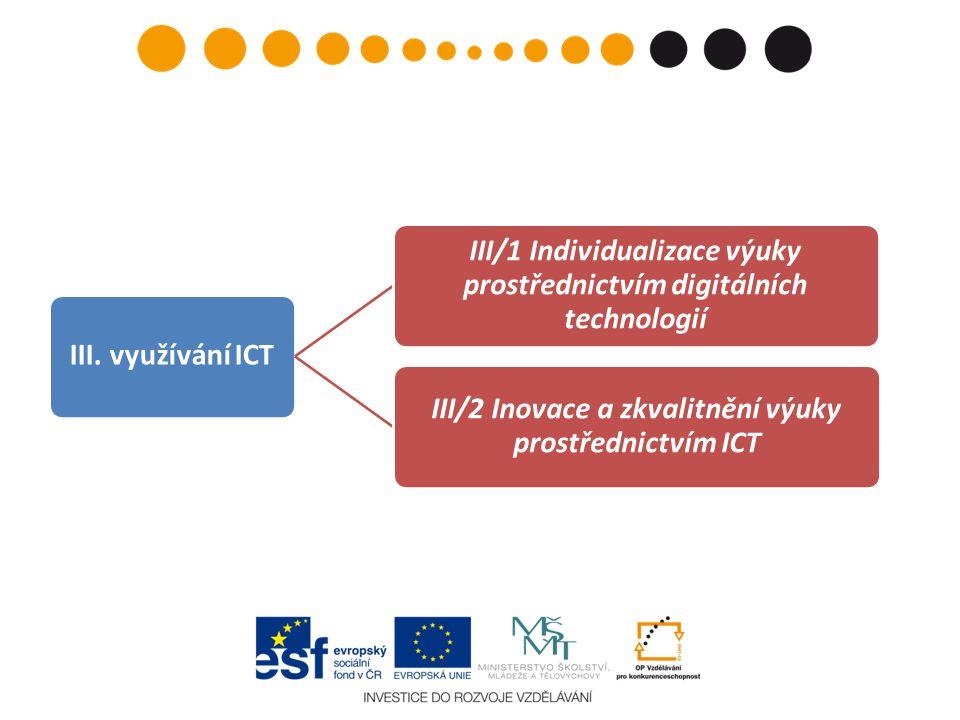 III/1: ICT – příklady – mimo jiné: • Skupina žáků řeší školní projekt: výsledek = zveřejněná zpráva o projektu, reálné výstupy žáků.