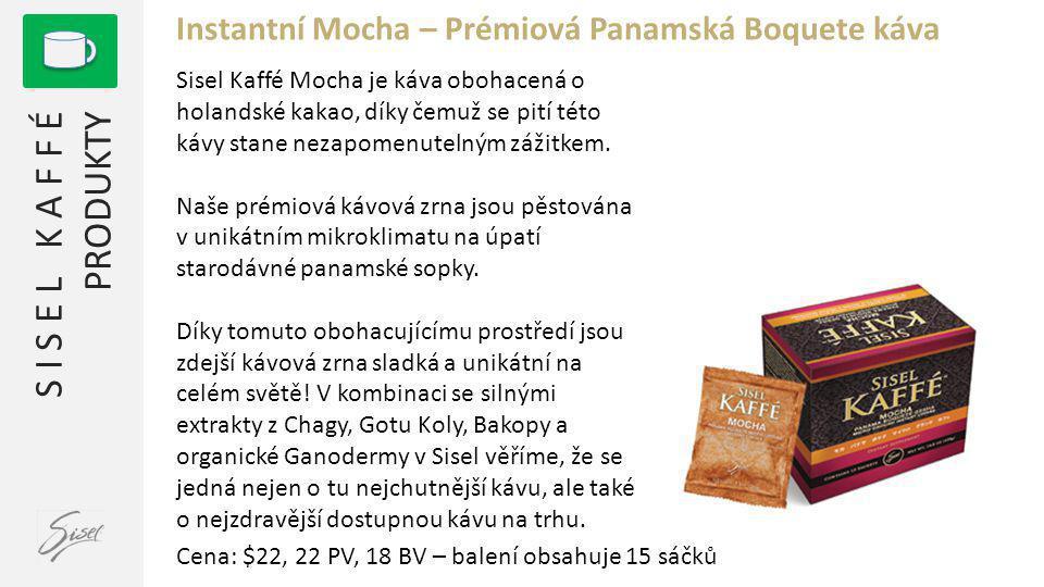 S I S E L K A F F É PRODUKTY Instantní Mocha – Prémiová Panamská Boquete káva Sisel Kaffé Mocha je káva obohacená o holandské kakao, díky čemuž se pit