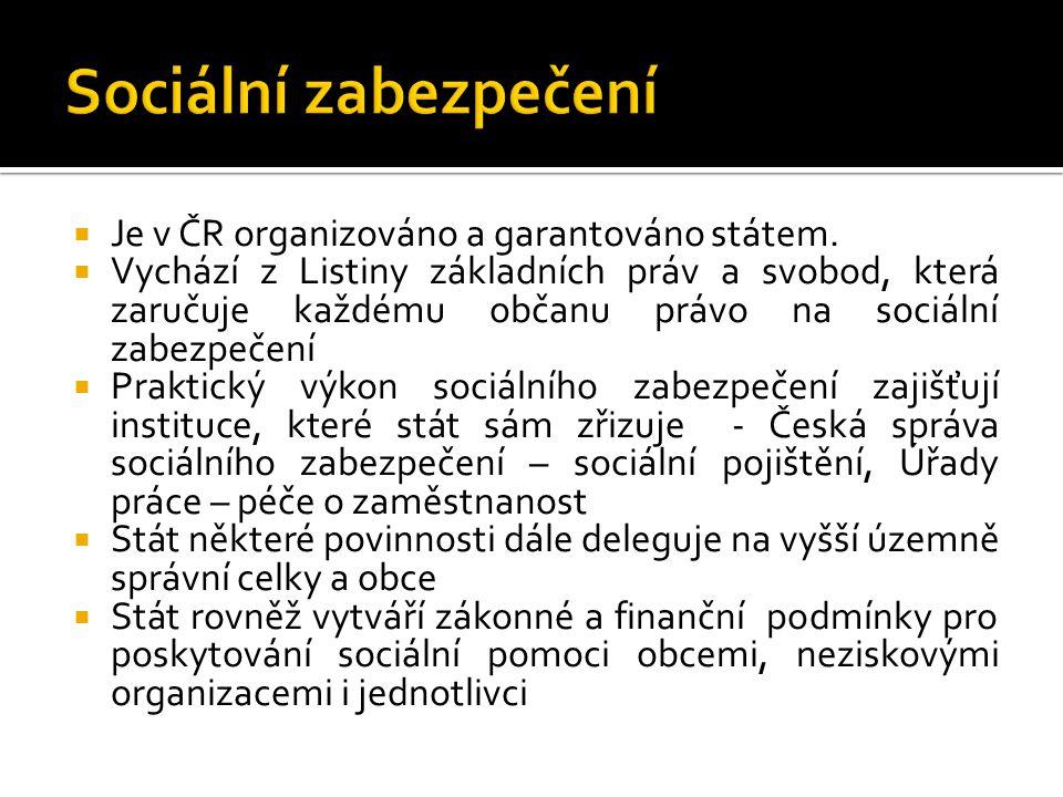  Je v ČR organizováno a garantováno státem.  Vychází z Listiny základních práv a svobod, která zaručuje každému občanu právo na sociální zabezpečení