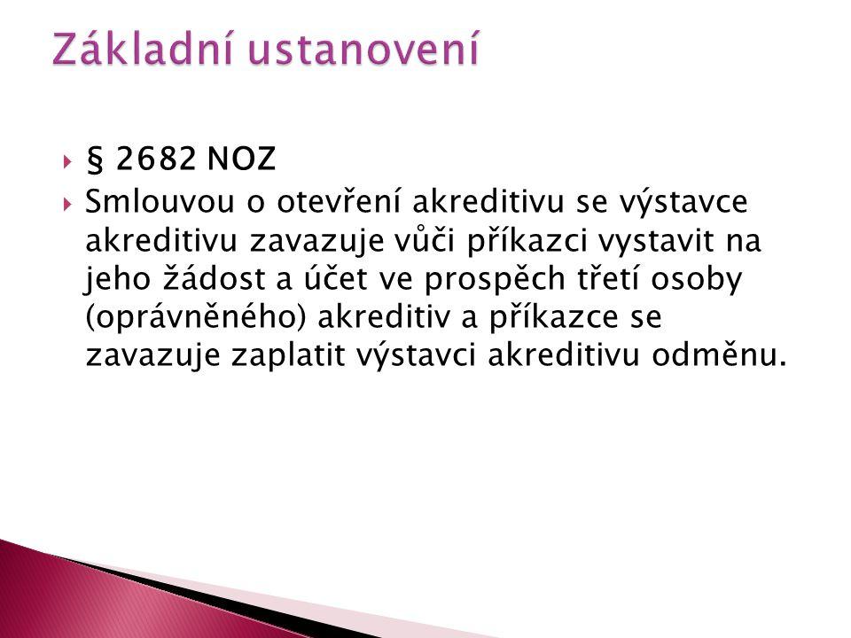  § 2682 NOZ  Smlouvou o otevření akreditivu se výstavce akreditivu zavazuje vůči příkazci vystavit na jeho žádost a účet ve prospěch třetí osoby (op