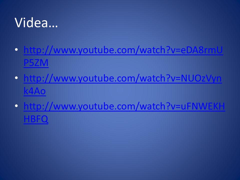 Videa… • http://www.youtube.com/watch?v=eDA8rmU P5ZM http://www.youtube.com/watch?v=eDA8rmU P5ZM • http://www.youtube.com/watch?v=NUOzVyn k4Ao http://