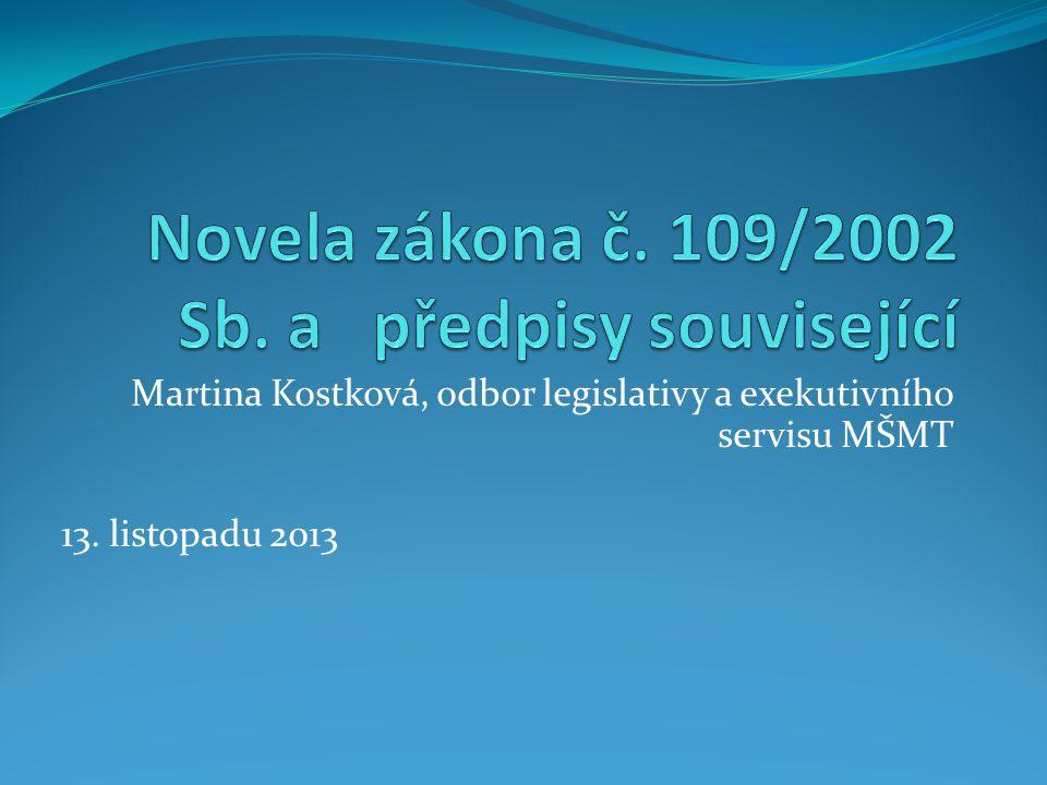 Novely zákona č.109/2002 Sb. od 1.11. 2012  zákon č.