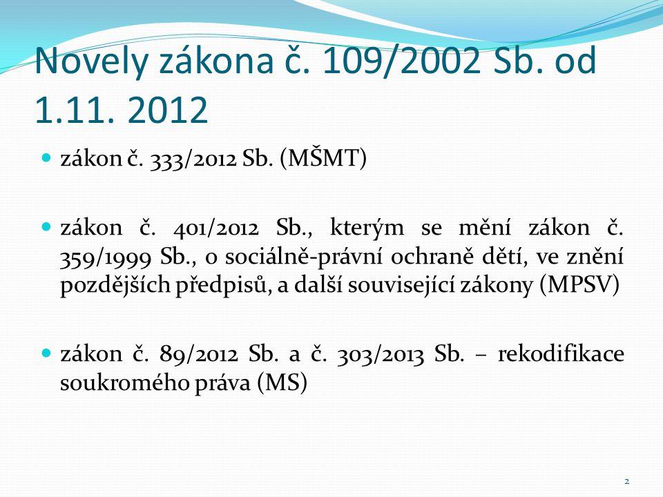 Novely zákona č. 109/2002 Sb. od 1.11. 2012  zákon č. 333/2012 Sb. (MŠMT)  zákon č. 401/2012 Sb., kterým se mění zákon č. 359/1999 Sb., o sociálně-p