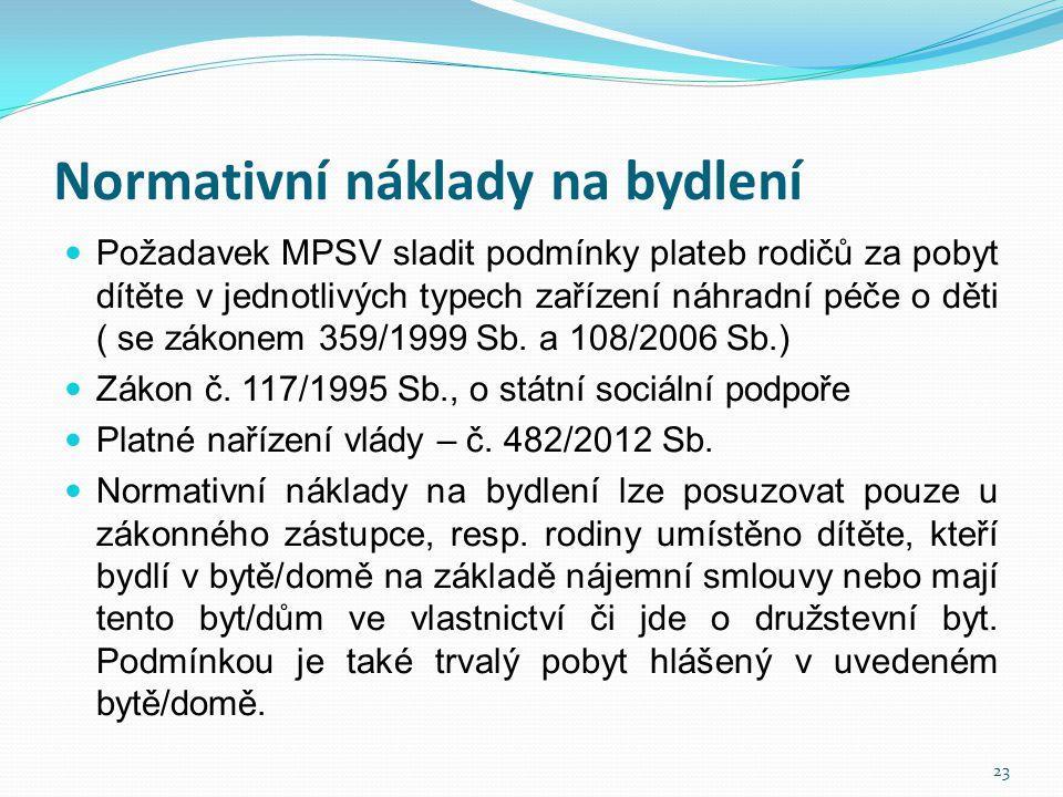 Normativní náklady na bydlení  Požadavek MPSV sladit podmínky plateb rodičů za pobyt dítěte v jednotlivých typech zařízení náhradní péče o děti ( se