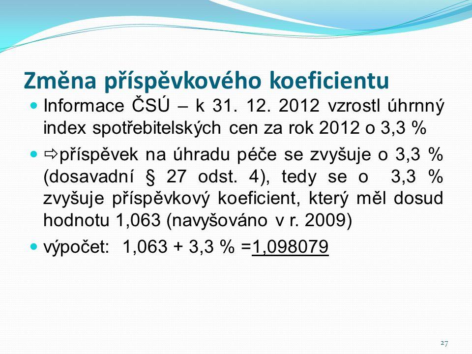 Změna příspěvkového koeficientu  Informace ČSÚ – k 31. 12. 2012 vzrostl úhrnný index spotřebitelských cen za rok 2012 o 3,3 %   příspěvek na úhradu