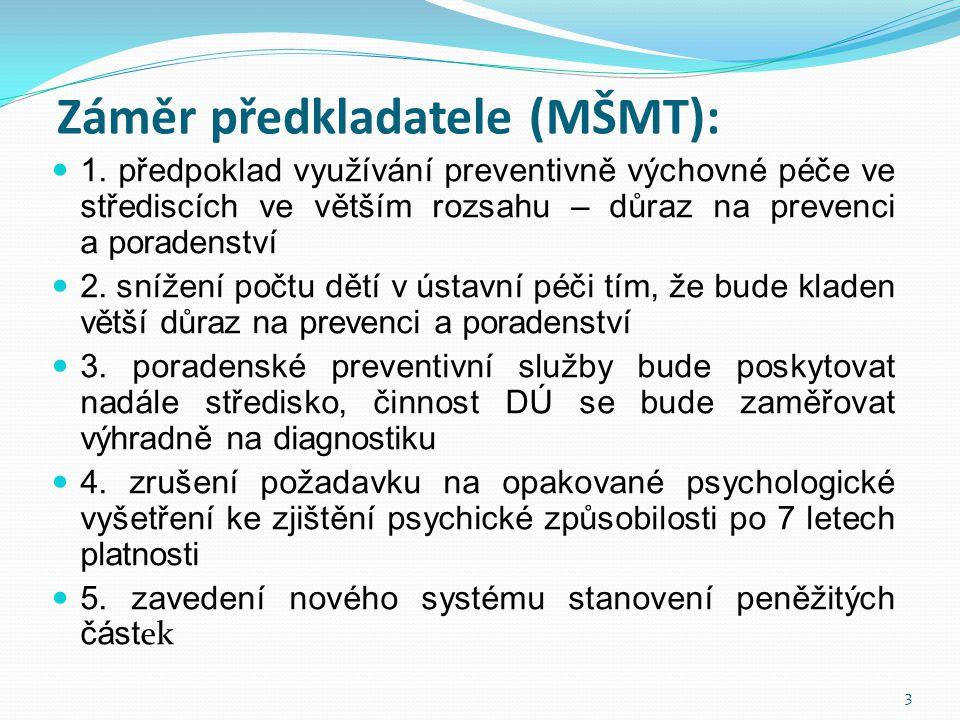 Záměr předkladatele (MŠMT):  1. předpoklad využívání preventivně výchovné péče ve střediscích ve větším rozsahu – důraz na prevenci a poradenství  2