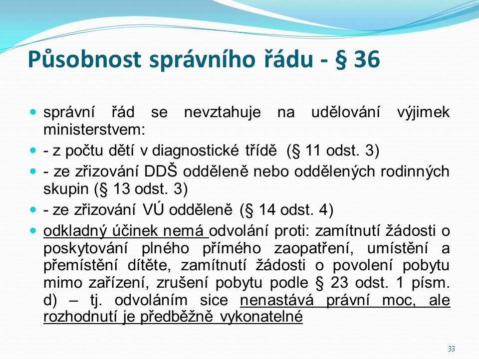 Působnost správního řádu - § 36  správní řád se nevztahuje na udělování výjimek ministerstvem:  - z počtu dětí v diagnostické třídě (§ 11 odst. 3) 