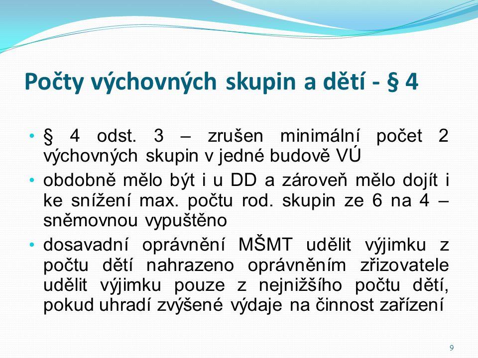 Počty výchovných skupin a dětí - § 4 • § 4 odst. 3 – zrušen minimální počet 2 výchovných skupin v jedné budově VÚ • obdobně mělo být i u DD a zároveň