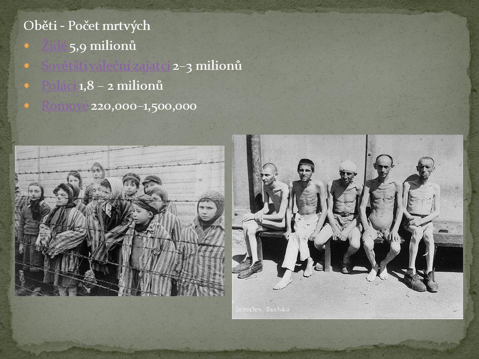 Oběti - Počet mrtvých  Židé 5,9 milionůŽidé  Sovětští váleční zajatci 2–3 milionůSovětštíváleční zajatci  Poláci 1,8 – 2 milionůPoláci  Romové 220