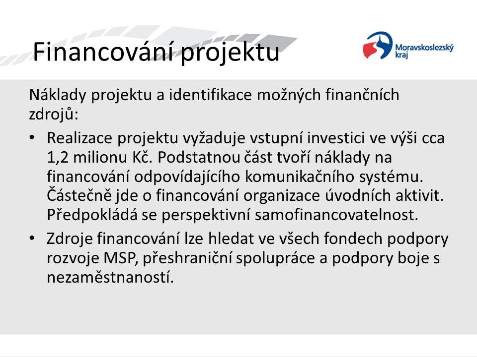 Financování projektu Náklady projektu a identifikace možných finančních zdrojů: • Realizace projektu vyžaduje vstupní investici ve výši cca 1,2 milion