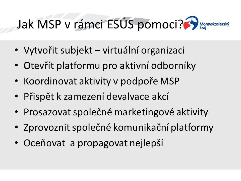 Jak MSP v rámci ESÚS pomoci? • Vytvořit subjekt – virtuální organizaci • Otevřít platformu pro aktivní odborníky • Koordinovat aktivity v podpoře MSP