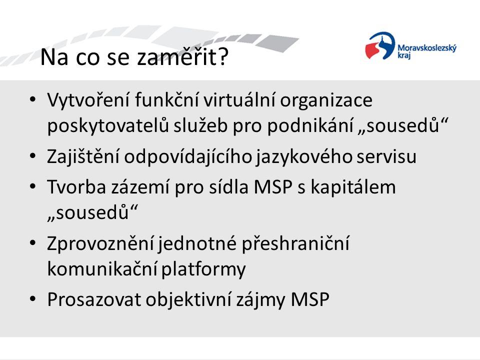 """Na co se zaměřit? • Vytvoření funkční virtuální organizace poskytovatelů služeb pro podnikání """"sousedů"""" • Zajištění odpovídajícího jazykového servisu"""