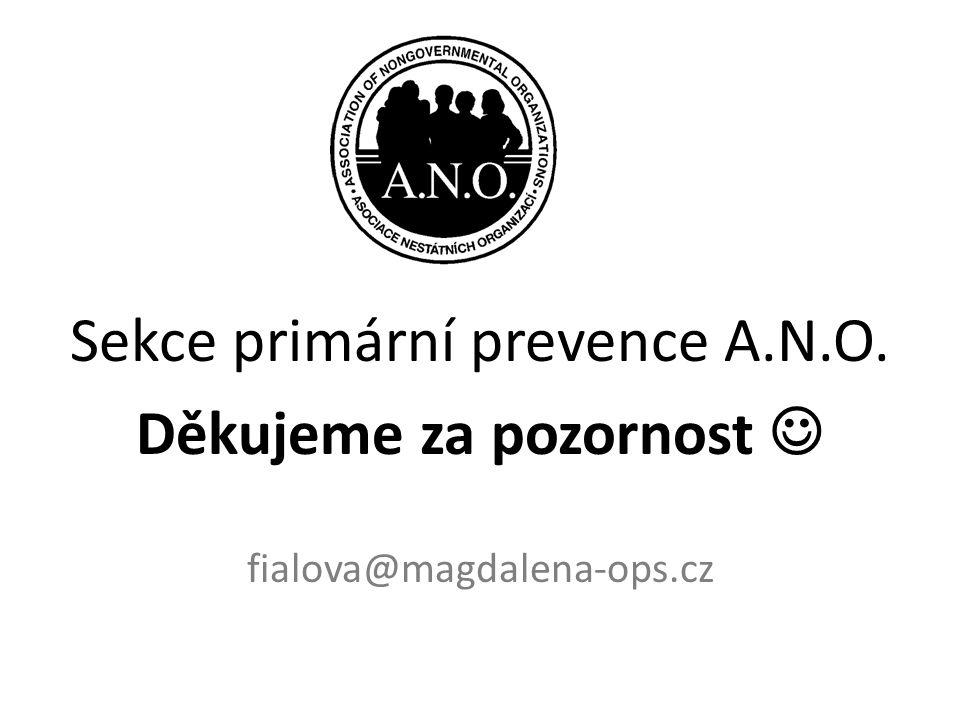 Sekce primární prevence A.N.O. Děkujeme za pozornost  fialova@magdalena-ops.cz