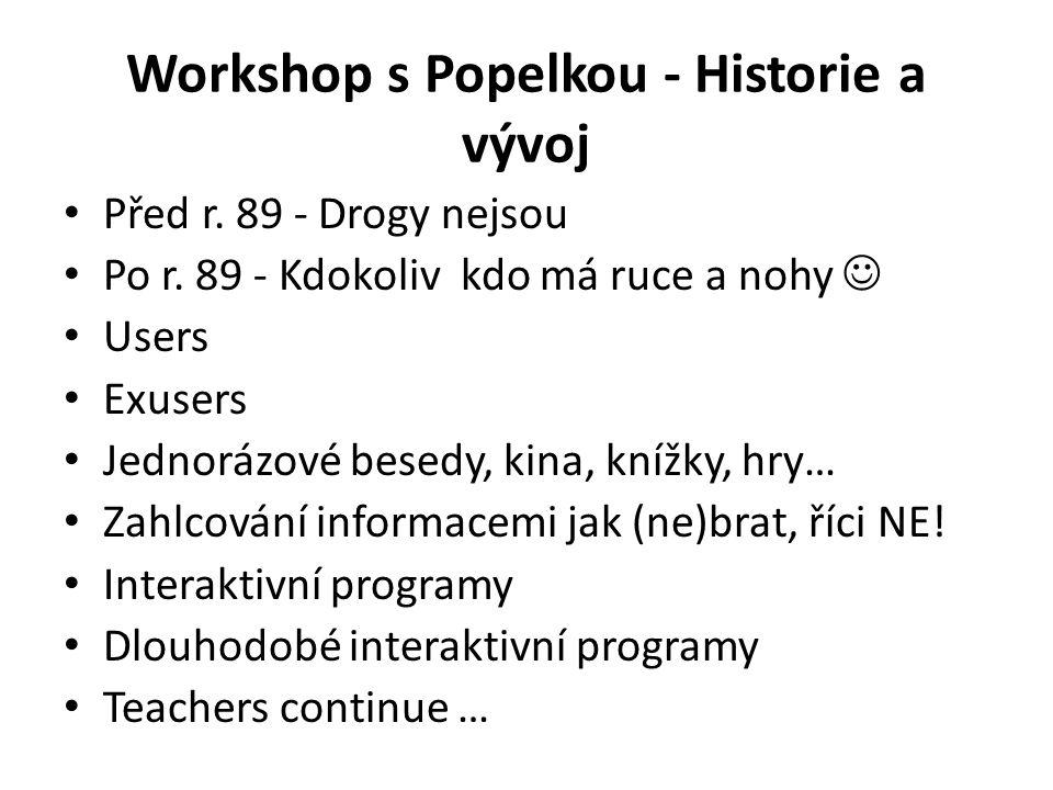 Workshop s Popelkou - Historie a vývoj • Před r. 89 - Drogy nejsou • Po r. 89 - Kdokoliv kdo má ruce a nohy  • Users • Exusers • Jednorázové besedy,