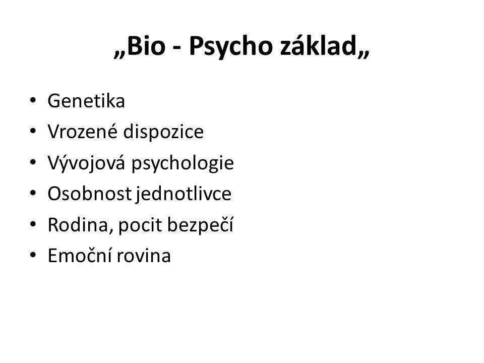 """""""Bio - Psycho základ"""" • Genetika • Vrozené dispozice • Vývojová psychologie • Osobnost jednotlivce • Rodina, pocit bezpečí • Emoční rovina"""