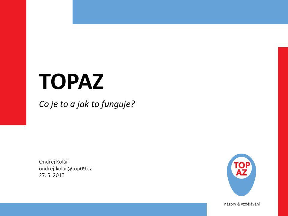 TOPAZ Co je to a jak to funguje? Ondřej Kolář ondrej.kolar@top09.cz 27. 5. 2013