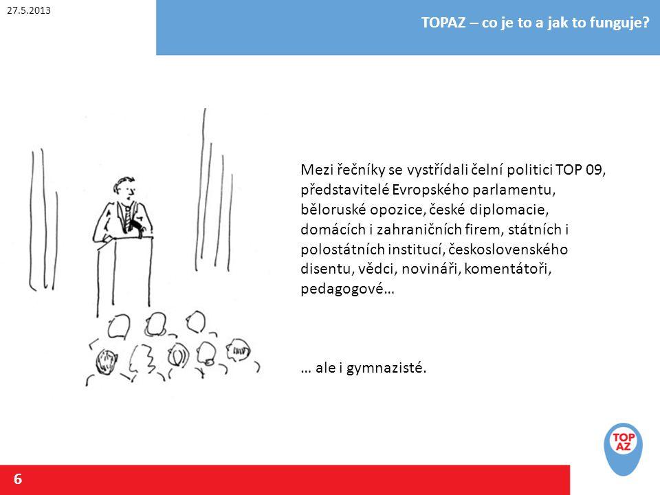 27.5.2013 TOPAZ – co je to a jak to funguje? 6 Mezi řečníky se vystřídali čelní politici TOP 09, představitelé Evropského parlamentu, běloruské opozic