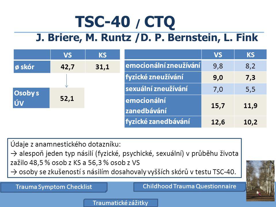 TSC-40 / CTQ J. Briere, M. Runtz /D. P. Bernstein, L. Fink VSKS emocionální zneužívání 9,88,2 fyzické zneužívání 9,07,3 sexuální zneužívání 7,05,5 emo