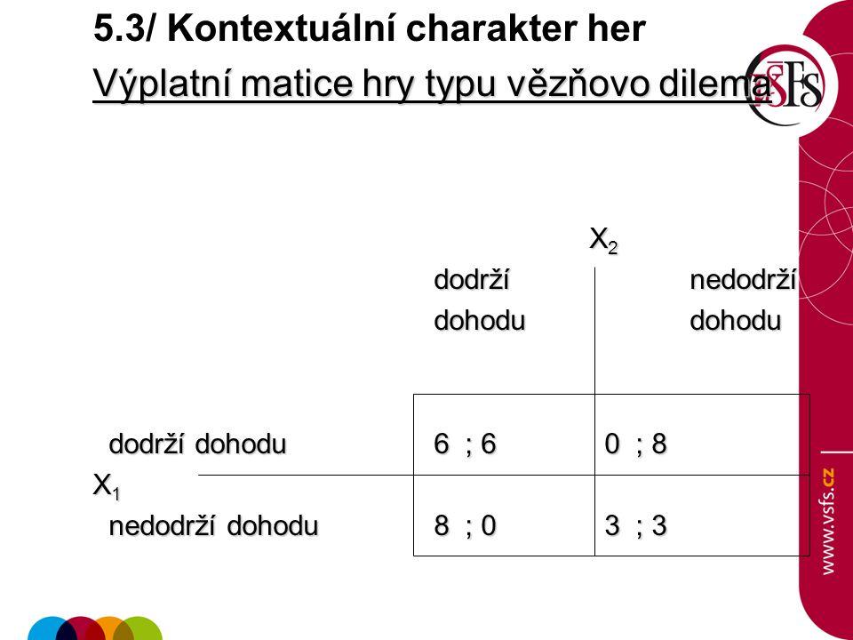 5.3/ Kontextuální charakter her Výplatní matice hry typu vězňovo dilema X 2 X 2 dodrží nedodrží dodrží nedodrží dohodudohodu dodrží dohodu6 ; 6 0 ; 8