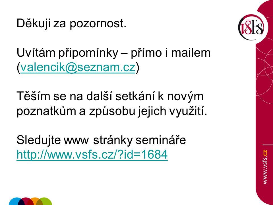 Děkuji za pozornost. Uvítám připomínky – přímo i mailem (valencik@seznam.cz)valencik@seznam.cz Těším se na další setkání k novým poznatkům a způsobu j