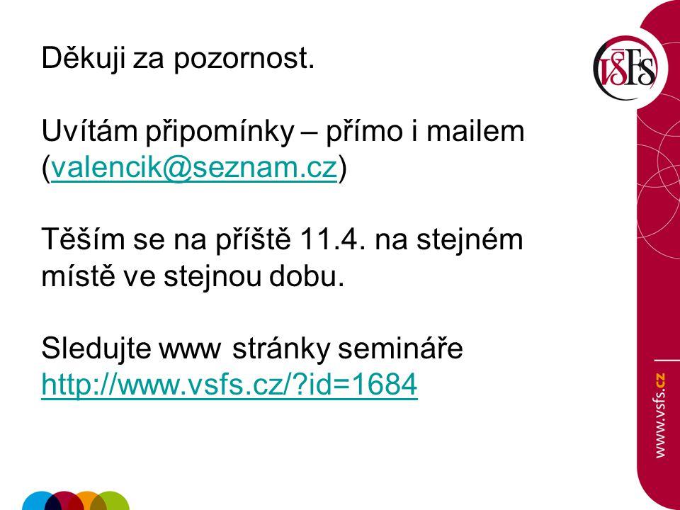 Děkuji za pozornost. Uvítám připomínky – přímo i mailem (valencik@seznam.cz)valencik@seznam.cz Těším se na příště 11.4. na stejném místě ve stejnou do