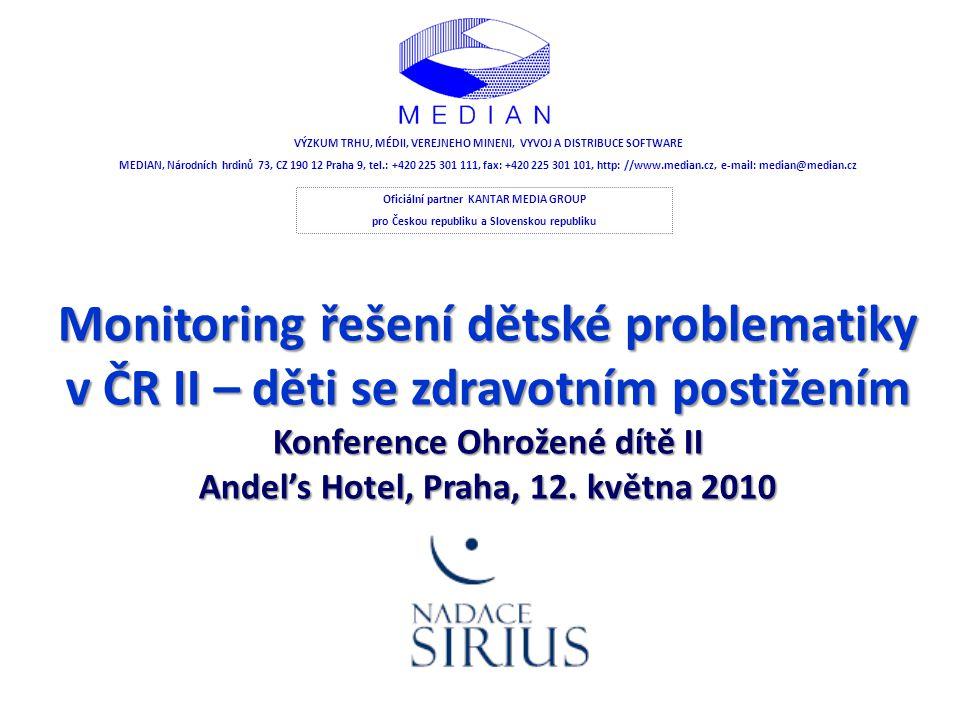 Monitoring řešení dětské problematiky v ČR II – děti se zdravotním postižením Konference Ohrožené dítě II Andel's Hotel, Praha, 12. května 2010 VÝZKUM