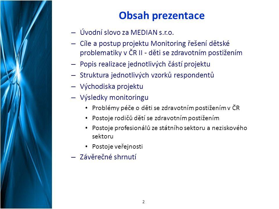 Obsah prezentace – Úvodní slovo za MEDIAN s.r.o. – Cíle a postup projektu Monitoring řešení dětské problematiky v ČR II - děti se zdravotním postižení