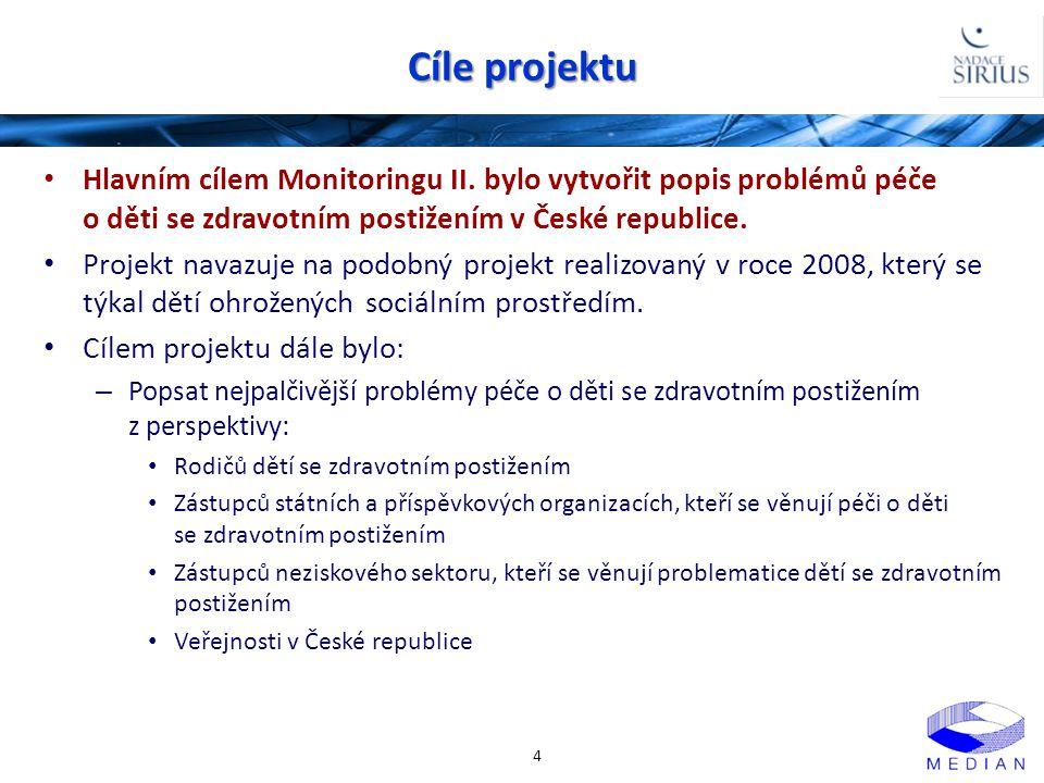 Cíle projektu • Hlavním cílem Monitoringu II. bylo vytvořit popis problémů péče o děti se zdravotním postižením v České republice. • Projekt navazuje